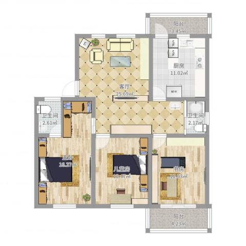 北园新村3室1厅2卫1厨113.00㎡户型图