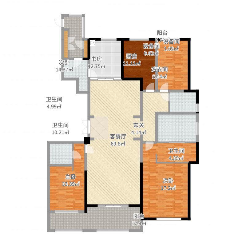 金新鼎邦260.00㎡26#标准层户型4室4厅3卫1厨-副本-副本户型图