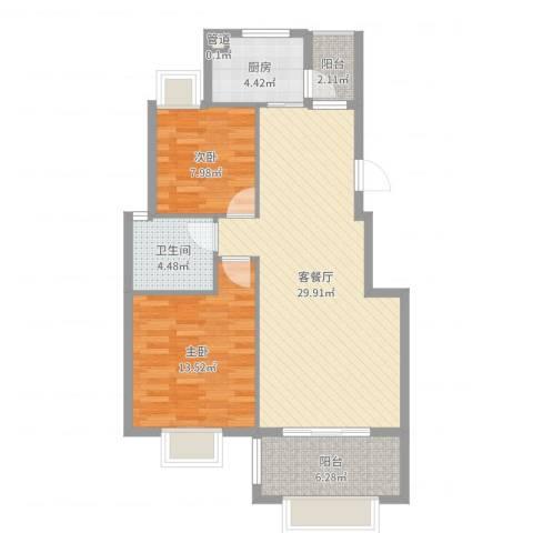 未来海岸2室2厅1卫1厨86.00㎡户型图