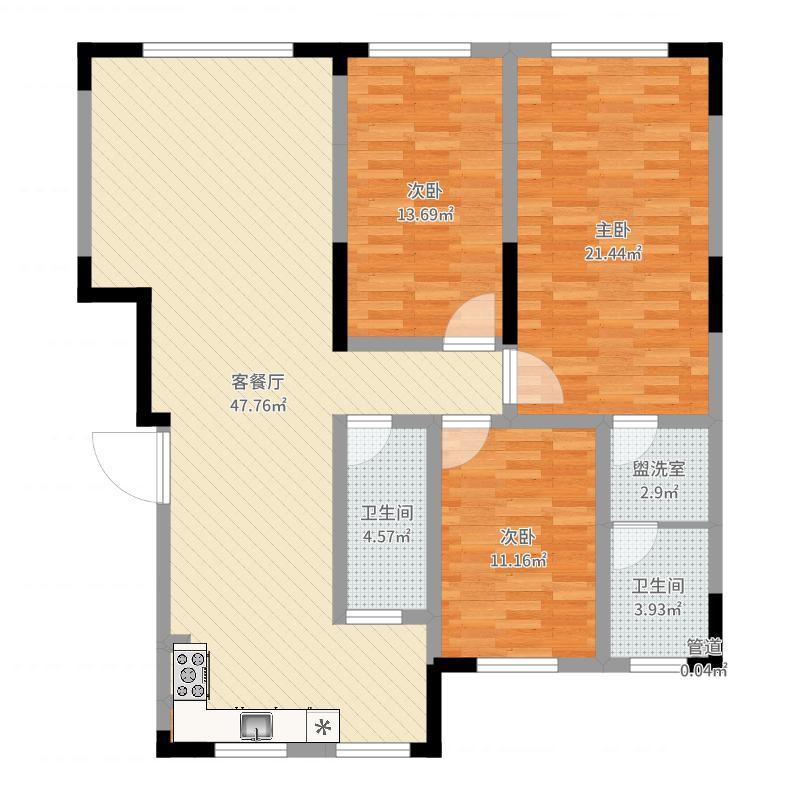 东安加州洋房138.00㎡洋房B户型3室3厅2卫1厨-副本户型图