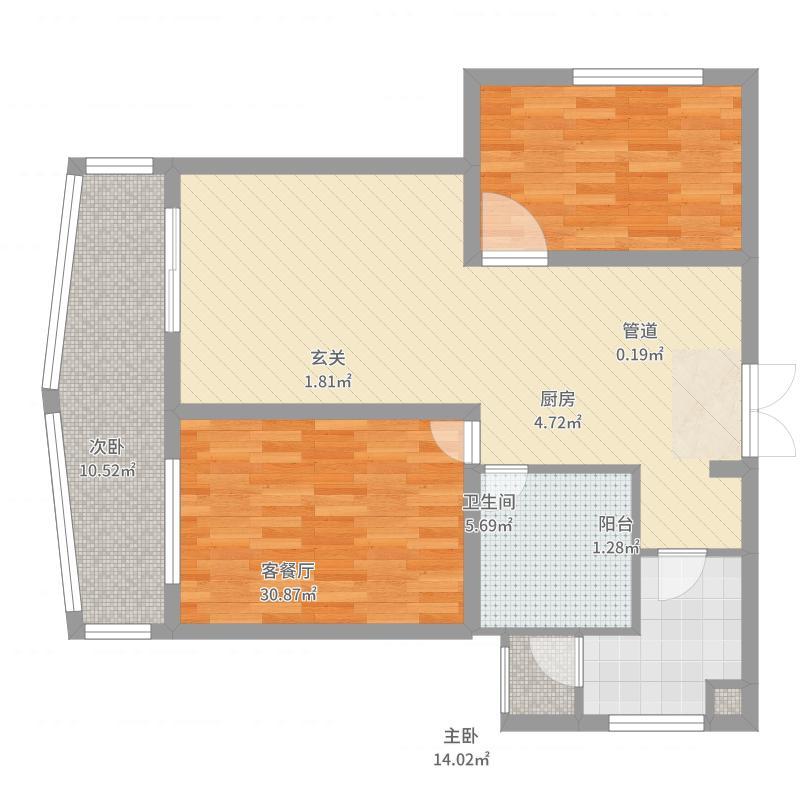 阳光绿洲2户型2室2厅2卫1厨-副本-副本户型图