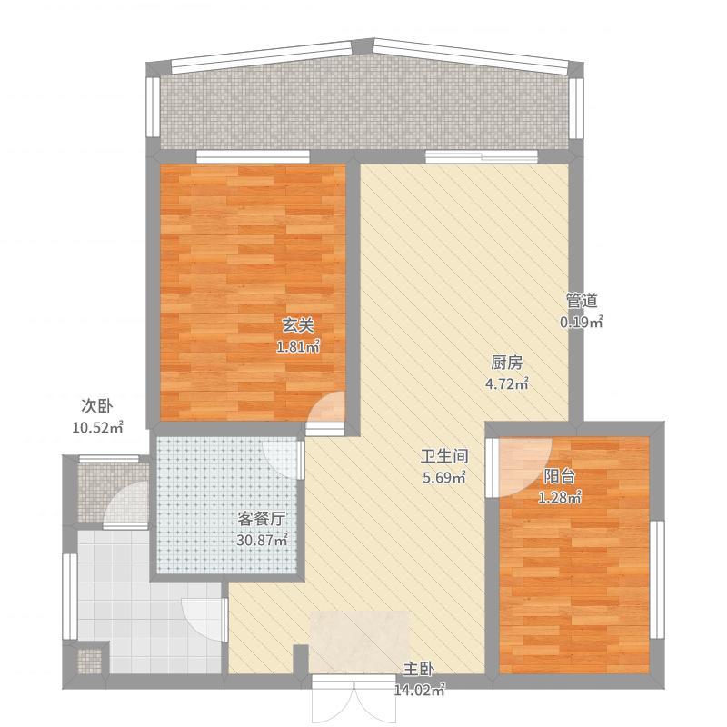 阳光绿洲2户型2室2厅2卫1厨-副本-副本-副本户型图