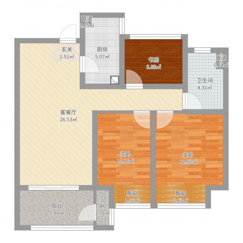 金隅紫京府90.00㎡二期11#标准层A户型3室3厅1卫1厨-副本户型图