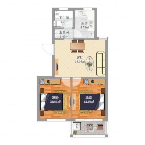 南苑小区2室1厅2卫1厨62.00㎡户型图