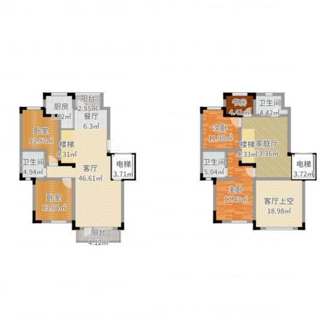 保利林语3室1厅3卫1厨228.00㎡户型图