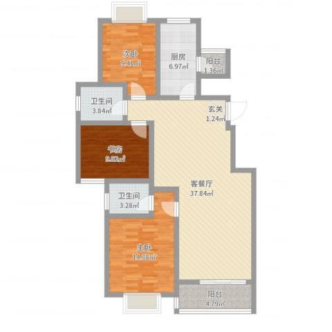 文化七村3室2厅2卫1厨115.00㎡户型图
