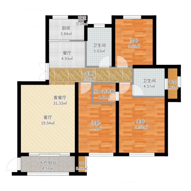 大连港天下粮仓户型3室1厅2卫1厨-副本户型图