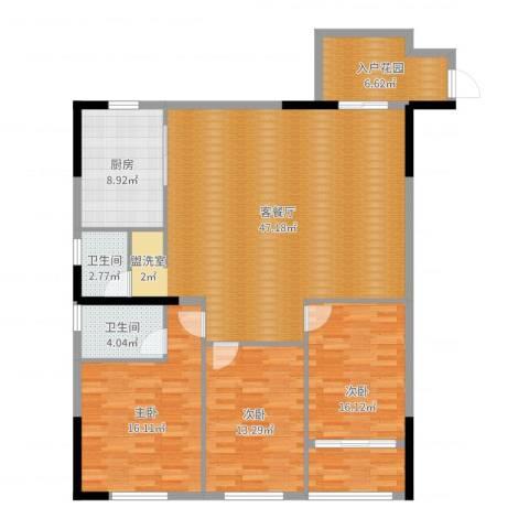 泓泰国际3室2厅2卫1厨144.00㎡户型图