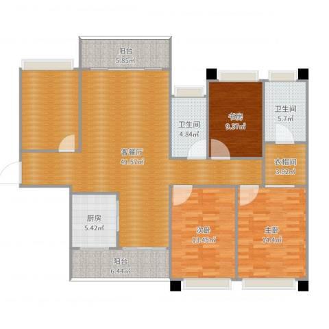 海岸万和城6栋2号房3室2厅2卫1厨152.00㎡户型图