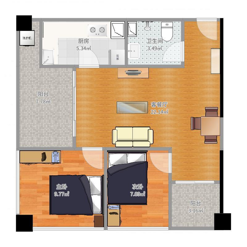 里面1号楼3号房户型图