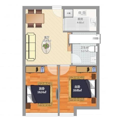 好时光大厦2室1厅1卫1厨58.00㎡户型图