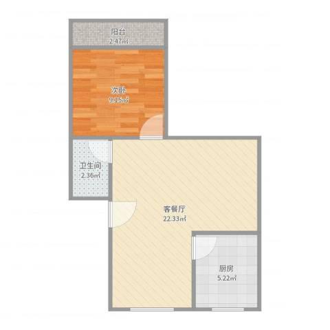 建发宿舍4梯01户型1室2厅1卫1厨52.00㎡户型图
