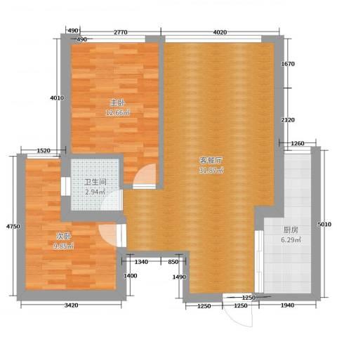 金K。海景2室2厅1卫1厨80.00㎡户型图