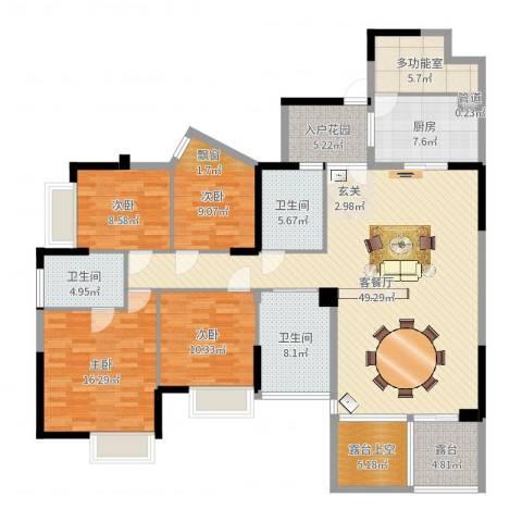 南山花园4室2厅3卫1厨176.00㎡户型图