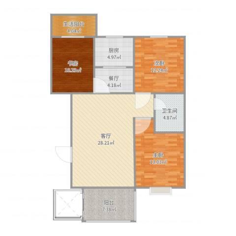 阳光小区3室2厅1卫1厨111.00㎡户型图