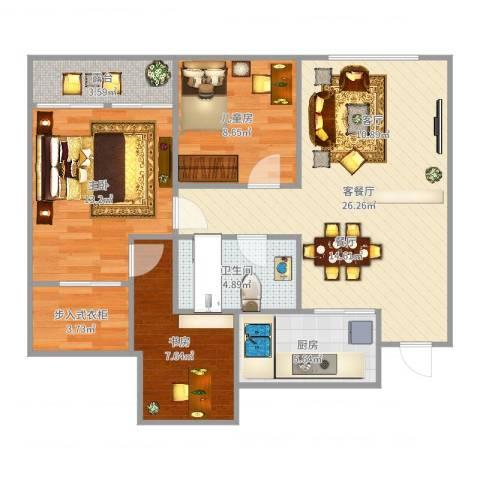 瑶溪凤凰城3室2厅1卫1厨92.00㎡户型图