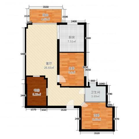加拿大花园3室1厅1卫1厨84.00㎡户型图