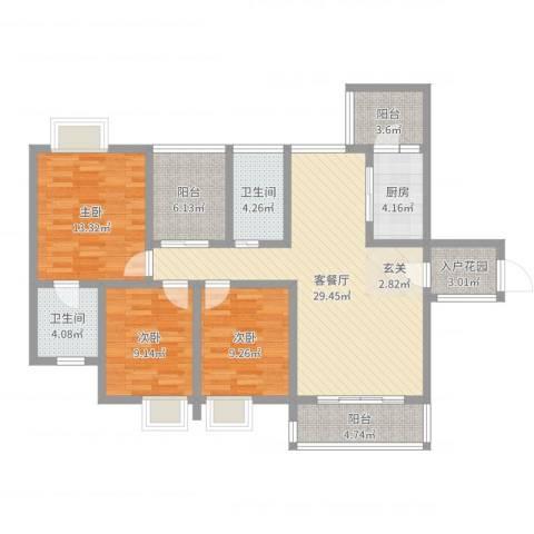 宏城花园3室2厅2卫1厨114.00㎡户型图