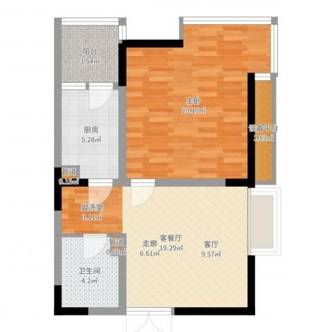 高新锦绣苑1室2厅1卫1厨68.00㎡户型图
