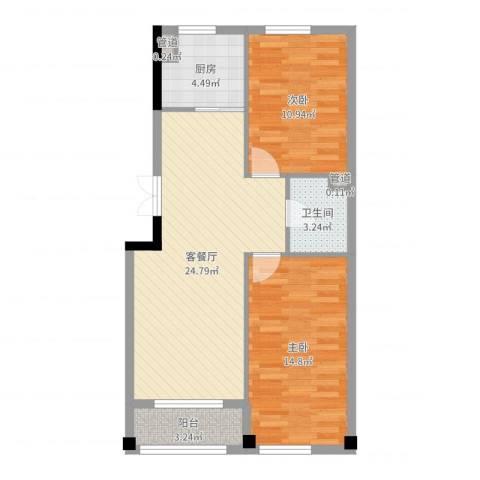 博林印象2室2厅1卫1厨77.00㎡户型图