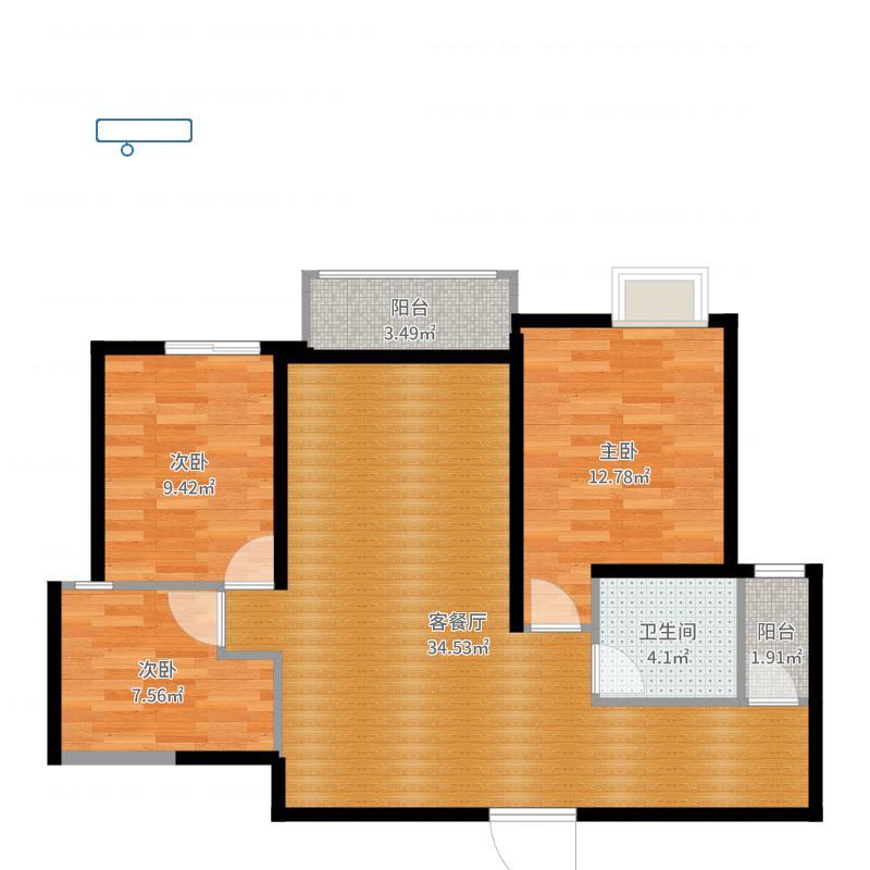 红苹果|(小芳)恒大名都3室2厅户型图