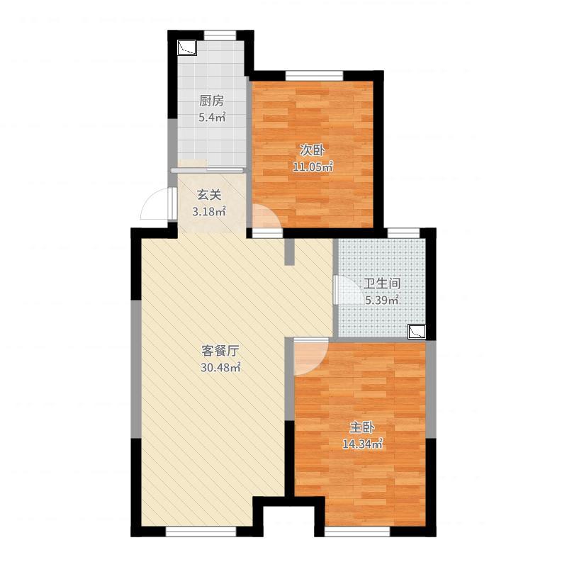 王珊-格林玫瑰湾91简约户型图