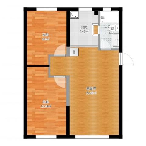 万龙台北明珠2室2厅1卫1厨66.00㎡户型图