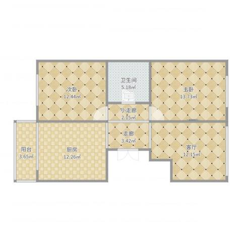 和谐家园2室1厅1卫1厨81.00㎡户型图