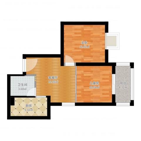 金牛坊2室2厅1卫1厨61.00㎡户型图