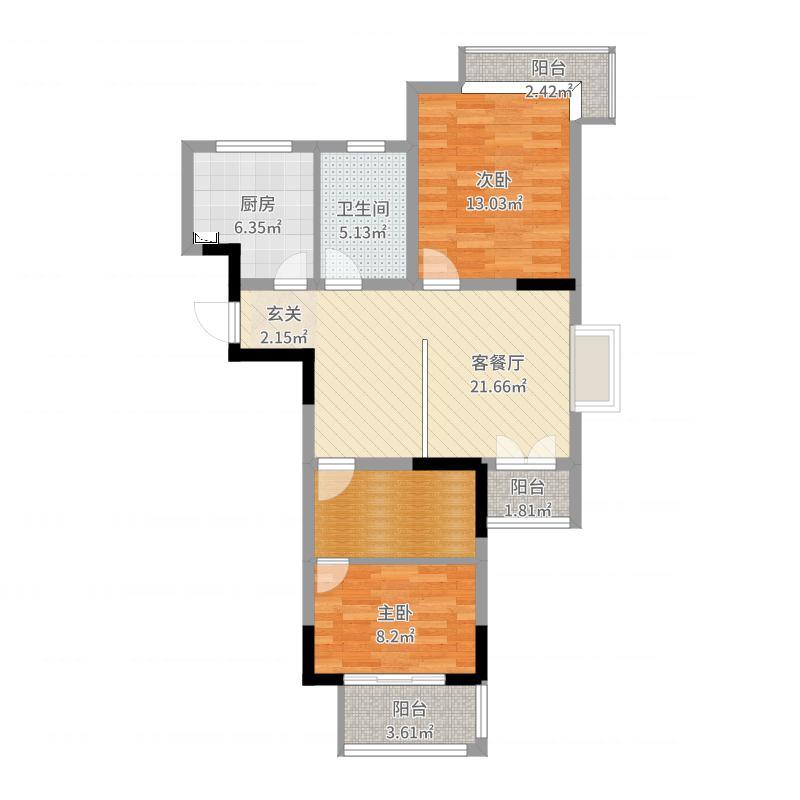 华仁・凤凰郡85-801-方案2户型图
