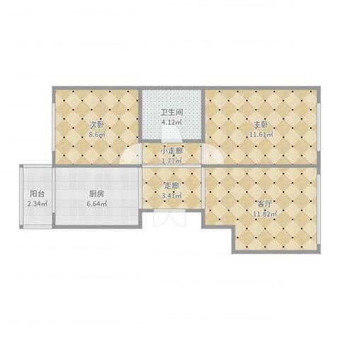 和谐家园2室1厅1卫1厨63.00㎡户型图
