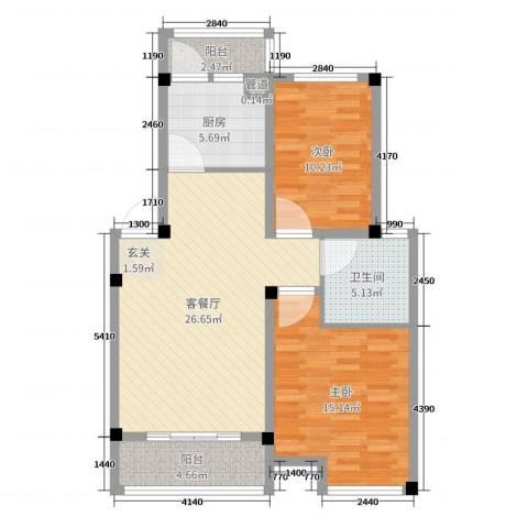 蝶尚雅居2室2厅1卫1厨88.00㎡户型图
