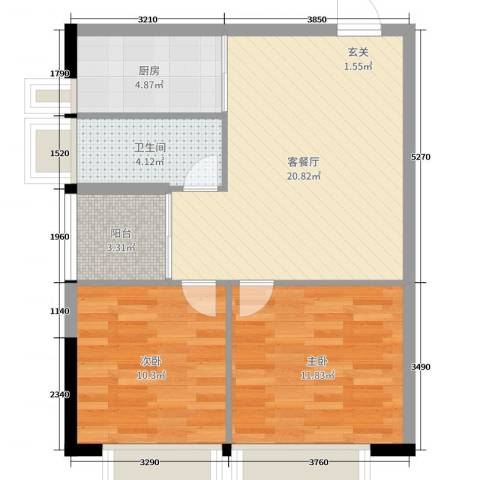 蓝天金地2室2厅1卫1厨75.00㎡户型图