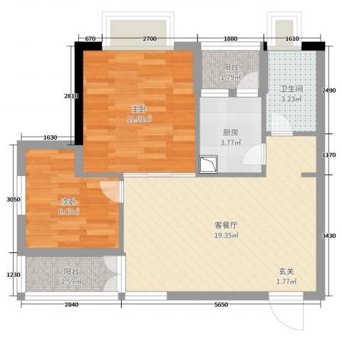 蓝天金地2室2厅1卫1厨66.00㎡户型图