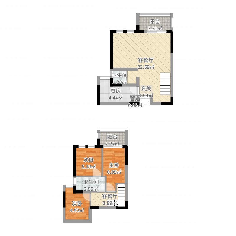 绿地新里悦峰公馆项目82.00㎡C1户型3室2厅2卫1厨-副本-副本户型图