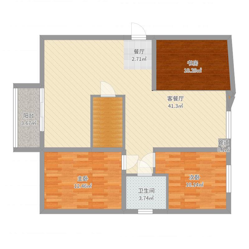 沃土・阳光二期110.00㎡F3户型3室3厅1卫1厨户型图