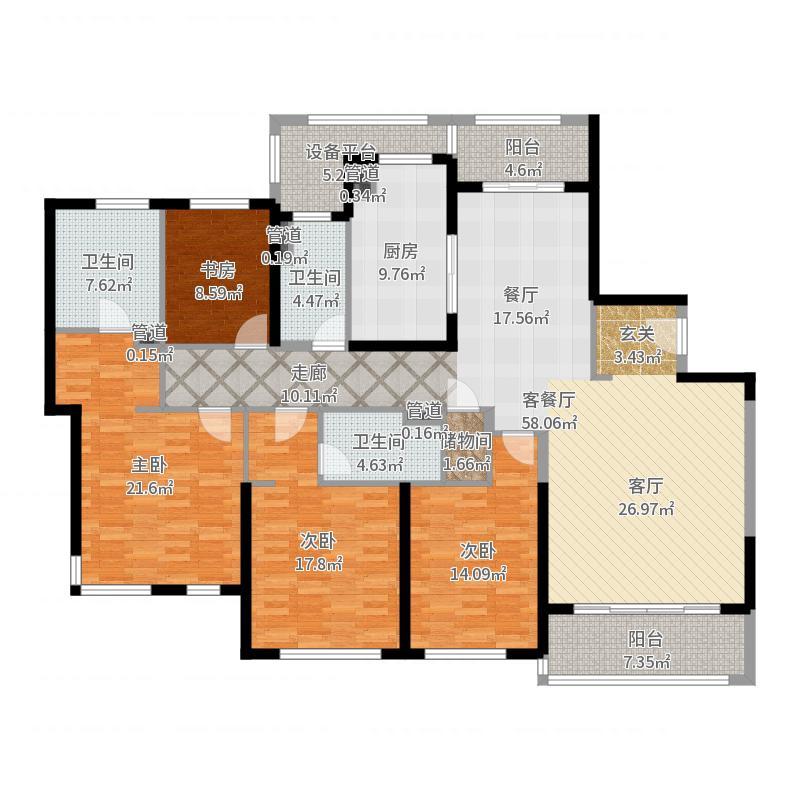 仁恒西郊花园188.00㎡D户型4室2厅-副本户型图