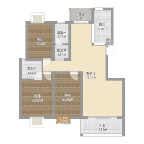 华林・灌南春天3室2厅2卫1厨107.00㎡户型图