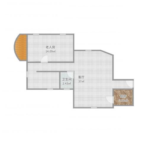 荔湾广场1室1厅1卫1厨75.00㎡户型图