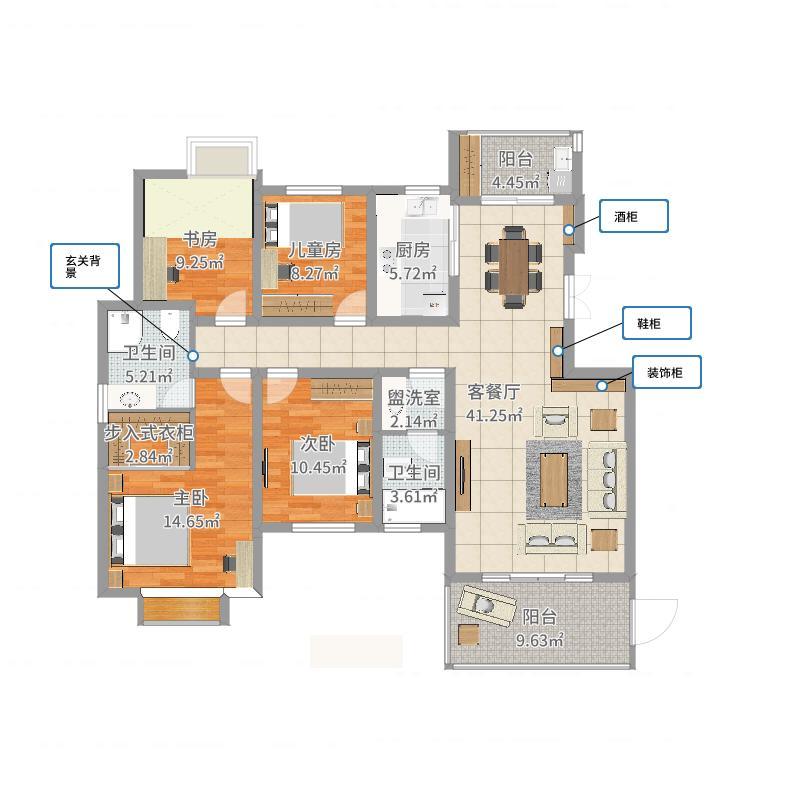 【靓丽青春】149方田园四居-副本户型图