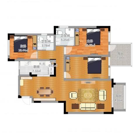 城海滨江春城一期2室0厅2卫1厨145.00㎡户型图