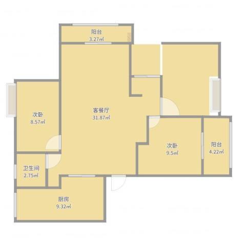 梁湖家园2室2厅1卫1厨87.00㎡户型图