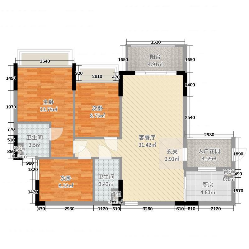 敏捷・锦绣星河120.71㎡6栋06户型3室3厅2卫1厨