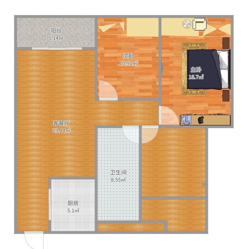 津城首府B3户型建面89。62实际110。65_2017-06-23-1933户型图