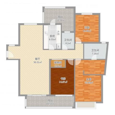 凯德汇豪天下3室1厅2卫1厨182.00㎡户型图