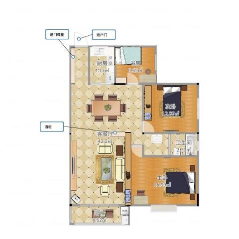 太子花苑3室2厅1卫1厨111.00㎡户型图