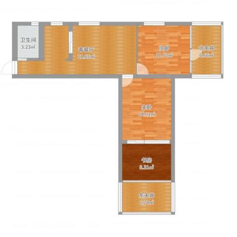 贝尔新村3室2厅1卫0厨91.00㎡户型图