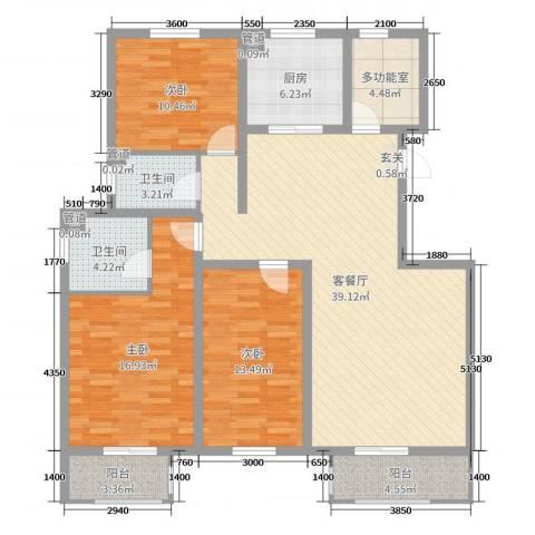 七里河・佳洲美地3室2厅2卫1厨140.00㎡户型图