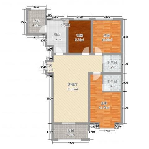 七里河・佳洲美地3室2厅2卫1厨127.00㎡户型图