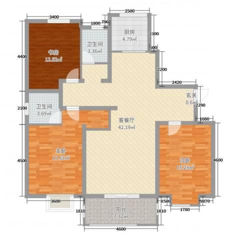 七里河・佳洲美地3室2厅2卫1厨145.00㎡户型图